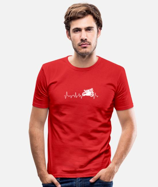 Biker T-Shirts - Motorcycle Superbike Heartbeat gift - Men's Slim Fit T-Shirt red