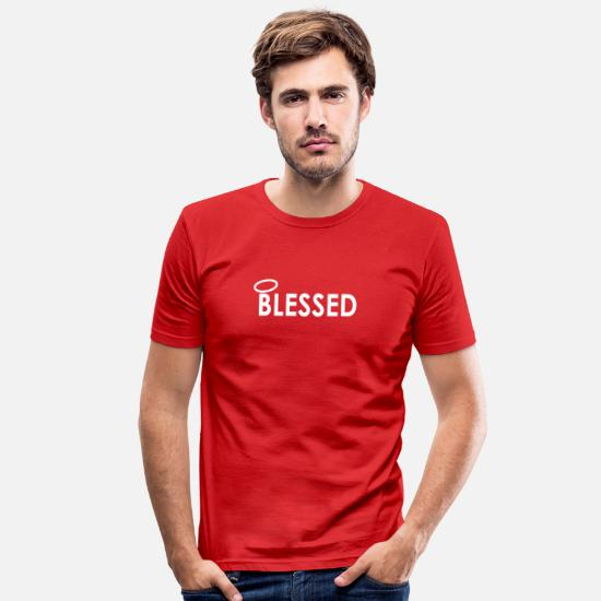 Birthday T-Shirts - Blessed - Men's Slim Fit T-Shirt red