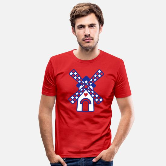 Symbool T-shirts - hollands molentje - Mannen slim fit T-shirt rood