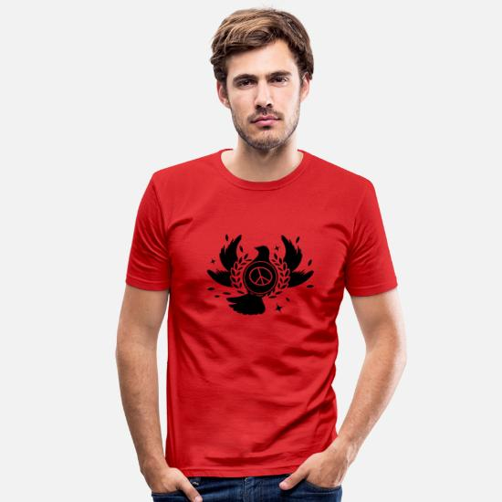 Symbol  T-Shirts - A peace dove with laurel wreath and peace sign - Men's Slim Fit T-Shirt red