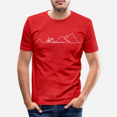 Mountains one line biking in the mountains - Männer Slim Fit T-Shirt