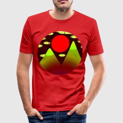 Mountains and a Red Sun - by Matilda Lorentsson - Slim Fit T-shirt herr