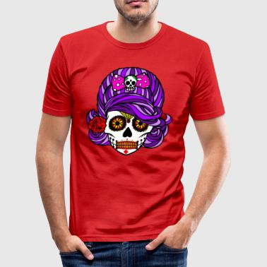 Halloween / Pretty Scary Skull Girl with Ribbon - Herre Slim Fit T-Shirt