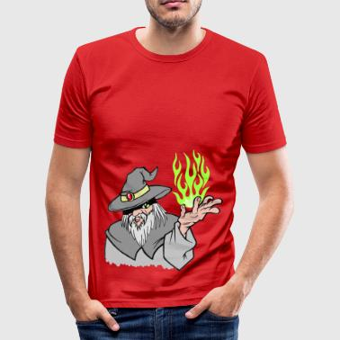 Willpower Wizard Grey / Green Flame - No Text - Men's Slim Fit T-Shirt