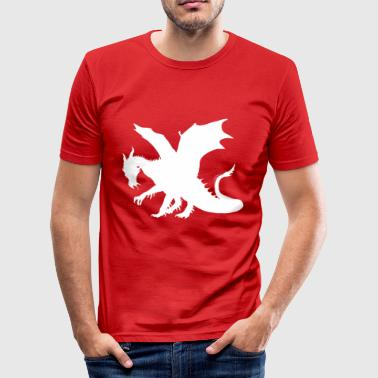 Dragons - Hvit kontur - Slim Fit T-skjorte for menn