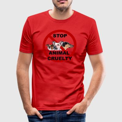 stop 3dogs stop small - Männer Slim Fit T-Shirt