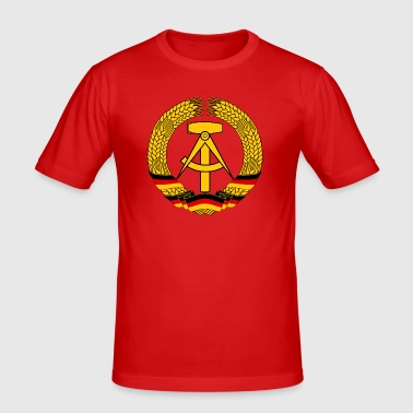 East Germany Crest Flag Wreath GDR DDR Emblem - Men's Slim Fit T-Shirt