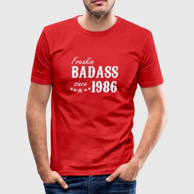freakin badass since 1986 - Men's Slim Fit T-Shirt