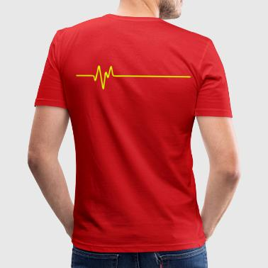 FREQUENCE (horizontal) - FREQUENCY - FREQUENZ - BEAT - BASS - PULS - Men's Slim Fit T-Shirt