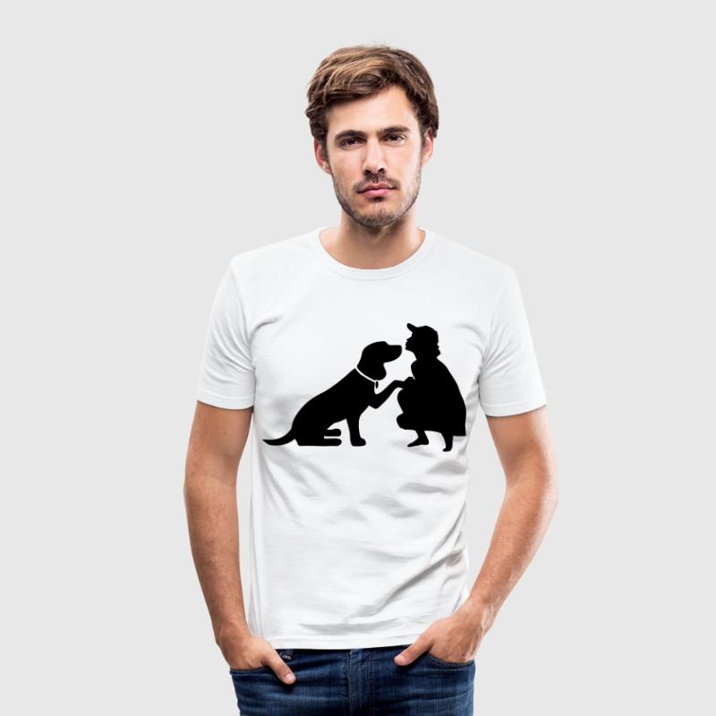Dog with mistress - Men's Slim Fit T-Shirt