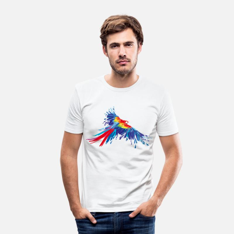 Animal Collection T-Shirts - Parrot feathers Aras bird birds wing parrot bird - Men's Slim Fit T-Shirt white