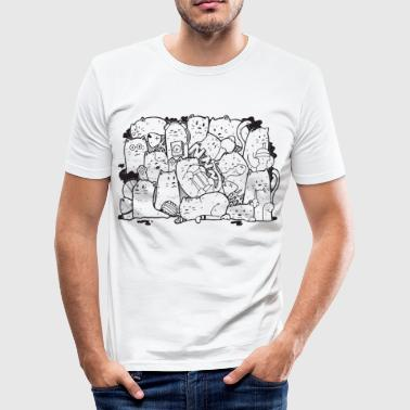 Funny Cats Illustration - Männer Slim Fit T-Shirt