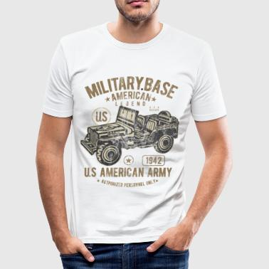 MILITARY BASE - US Army Jeep Shirt Motiv - Männer Slim Fit T-Shirt