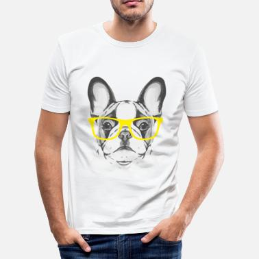 Fransk Bulldogg Fransk bulldogg Yellow Glasses - Slim Fit T-shirt herr
