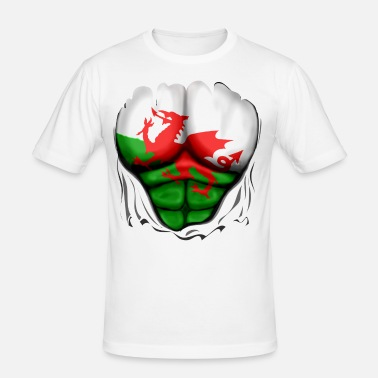 Welsh Flag Wales Flag Ripped Muscles, six pack, chest t-shirt - Men's Slim Fit T-Shirt