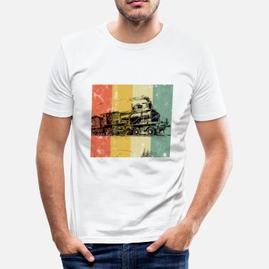 Lokomotive Trains Locomotive Steam Railroad Railway vintage - Männer Slim Fit T-Shirt