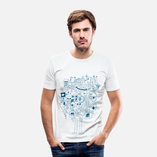 Coole T-Shirts - Creative - Männer Slim Fit T-Shirt Weiß