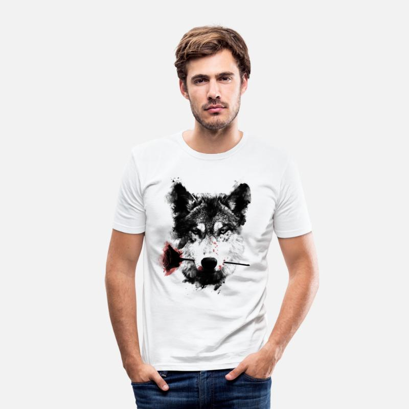 Saint Valentin T-shirts - Wolf Lover - T-shirt moulant Homme blanc