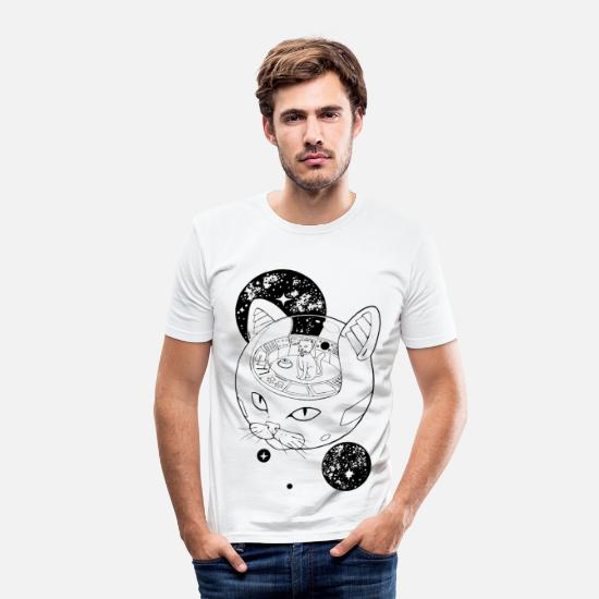 Black And White Collection T-shirts - Cosmic Cat Emperor - T-shirt slim fit herr vit