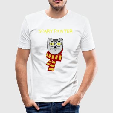 Hairy Funny Cat Design - Men's Slim Fit T-Shirt