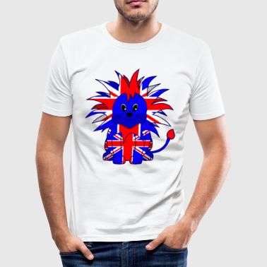 Cute British Lion Cartoon - Men's Slim Fit T-Shirt
