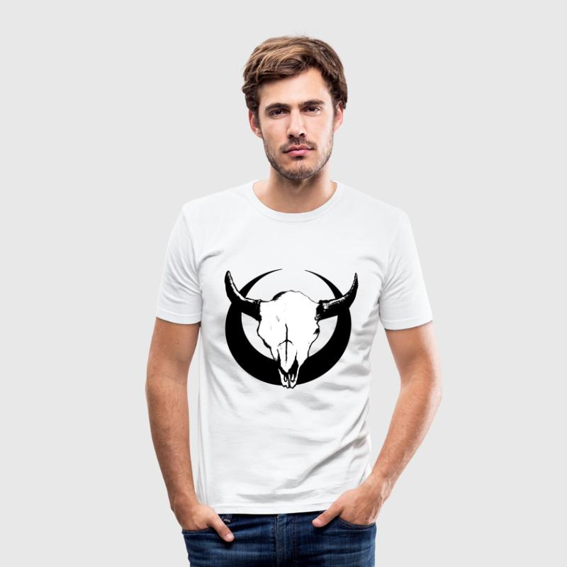 Bison Skull Emblem - Men's Slim Fit T-Shirt