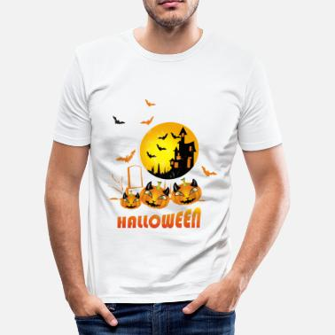Burgas Halloween slot med græskarfladder - Herre Slim Fit T-Shirt