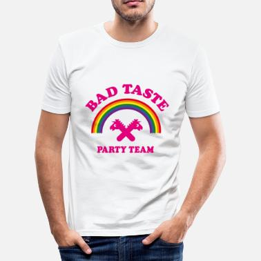 Taste Bad Taste Party Team (Einhorn, Regenbogen, Cooper) - Männer Slim Fit T-Shirt