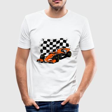 Racecar - Rennauto - Racing Flag - Männer Slim Fit T-Shirt