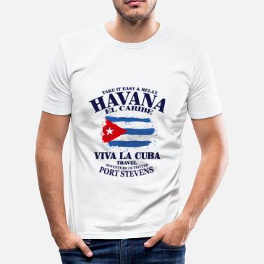 Cuba Havana - Cuba Flag - Men's Slim Fit T-Shirt