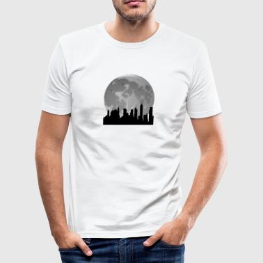 Skyline fullmåne kosmopolitisk - Slim Fit T-skjorte for menn
