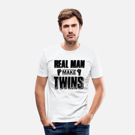 Birthday T-Shirts - real men produce twins - Men's Slim Fit T-Shirt white