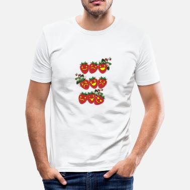 Emoticon Jordbær Emoticons - Slim Fit T-skjorte for menn