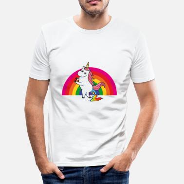 Rainbow Poop Pooping unicorn rainbow - Men's Slim Fit T-Shirt