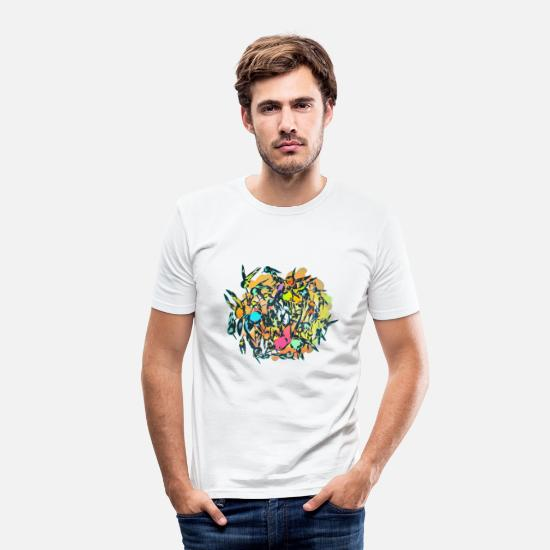 Illustratör T-shirts - Fåglarna - T-shirt slim fit herr vit