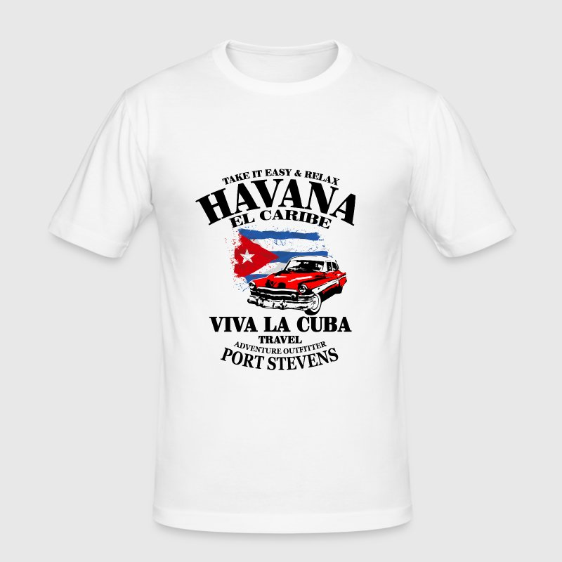 Havana - Cuba Flag - Men's Slim Fit T-Shirt