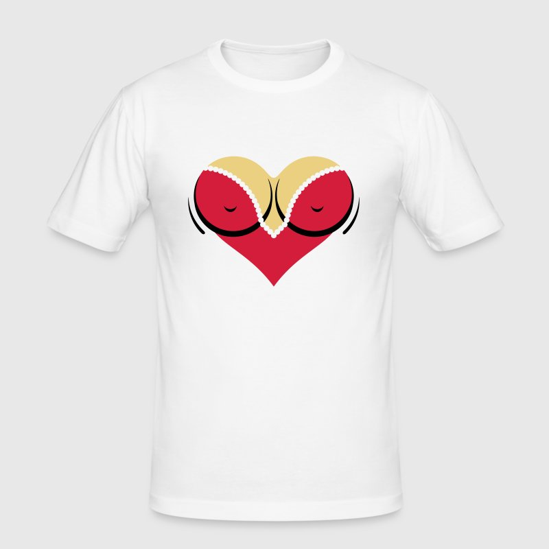 Heart-shaped woman s breasts with deep cleavage - Men's Slim Fit T-Shirt