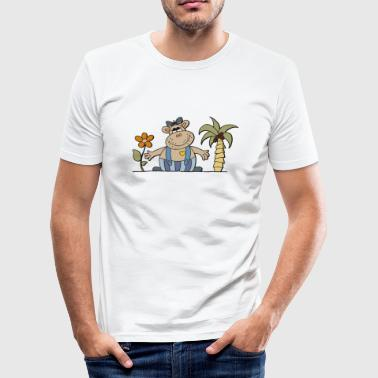 Hippo funny hippo with sunflower Hippo hippo - Men's Slim Fit T-Shirt