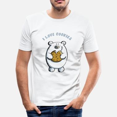 Cutter I Love Cookies Polar Bear - Cookies - Funny - Gift - Men's Slim Fit T-Shirt