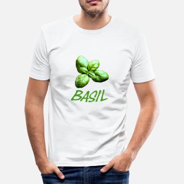 Basil Basil with lettering - Men's Slim Fit T-Shirt