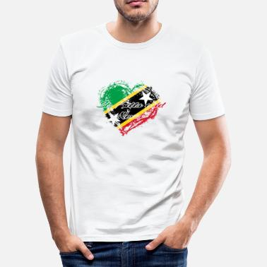 Nevis HOME ROOTS COUNTRY GIFT LOVE Saint Kitts and Nevis - Men's Slim Fit T-Shirt