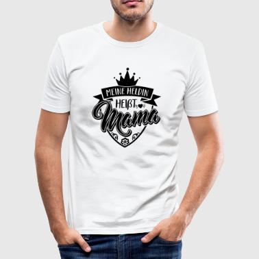 Mijn heldin heet MOM - Moederdag dag - baby - kind - slim fit T-shirt