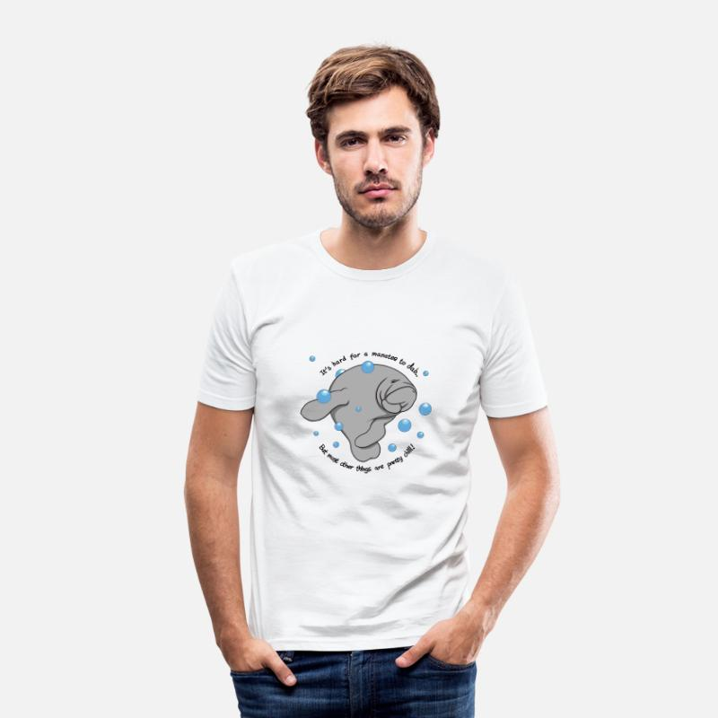 Manatee T-Shirts - Manatee Dab - Men's Slim Fit T-Shirt white
