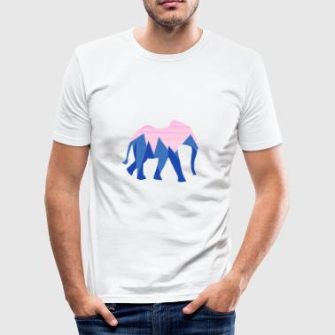 Olifant in roze en blauw - slim fit T-shirt