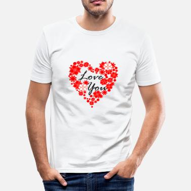Love With Heart Love You Heart Heart | love - Men's Slim Fit T-Shirt