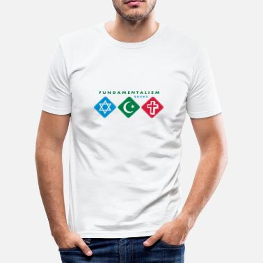 Info@spreadshirt.net fundamentalism sucks_vec_3 de - Männer Slim Fit T-Shirt