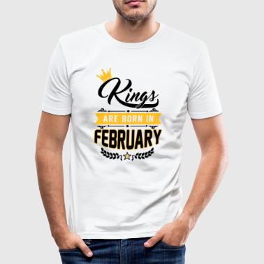 Février Kings are born in February - Geburtstag - Löwe - T-shirt près du corps Homme