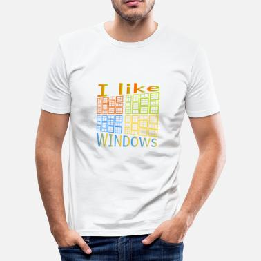 Windows Ik hou van Windows - Mannen slim fit T-shirt