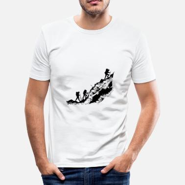 Mountains Hikers go up the mountain. - Men's Slim Fit T-Shirt