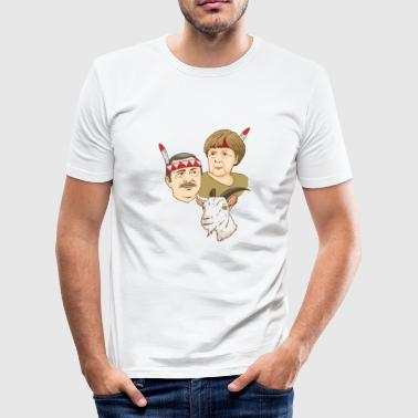 Erdogan Merkel Ziege Satire Indianer Politiker - Männer Slim Fit T-Shirt